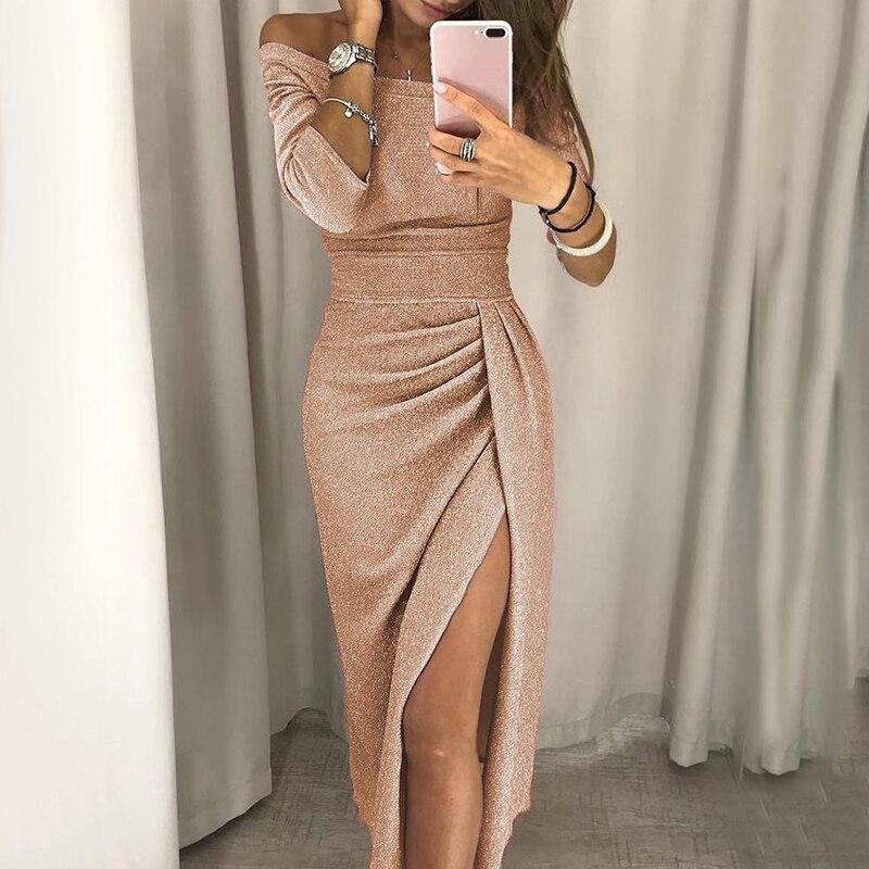 Vestido de noche con hombros descubiertos para mujer, vestido de fiesta con manga 3/4, cintura alta, abertura Maxi, Sexy, para primavera y verano, 2021