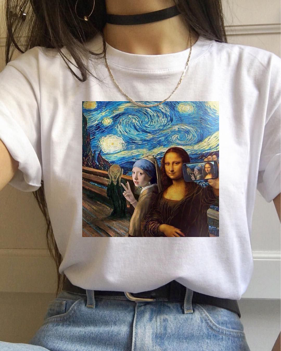 Mona lisa t camisa feminina van gogh engraçado camiseta de topo vogue harajuku 90s streetwear sailor moon casual impresso camiseta feminino