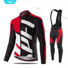 2019 Pro Team Long Sleeve Cycling Jersey Set Kit Mens MTB Clothing Breathable Bib Pants Ropa Ciclismo Bicycle Clothes
