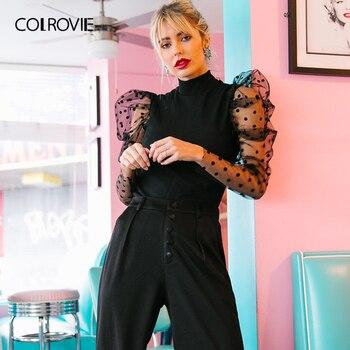 COLROVIE Dobby negro de malla de Gigot de manga de-cuello Casual mujeres sólida camisetas otoño de 2019 Collar elegante Tops jersey