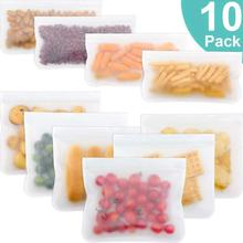 10 Pcs PEVA Silicone Food Storage Containers Reusable Freezer Bag Leakproof Stand Up Zip Shut Top Fresh Bag Fruits Lunch Box