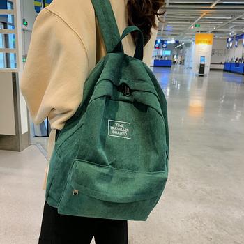 HOCODO sztruks 2020 kobiet plecak College Style kobiet torby szkolne plecaki na co dzień podróży kobiet klasyczne wypoczynek kobiet torby tanie i dobre opinie CN (pochodzenie) Tłoczenie Unisex Miękka 20-35 litr Kieszeń na telefon komórkowy Komputer pośrednia Miękki uchwyt