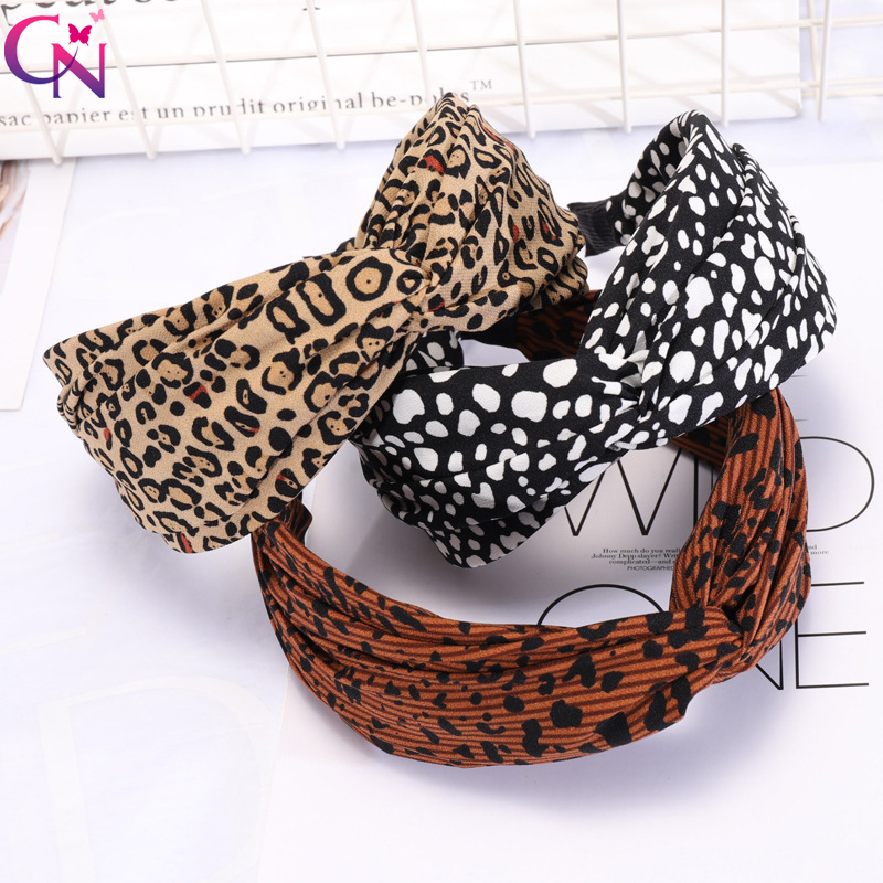 CN Bohemian Leopard Cross Hairband Elastic Chiffon Hair Hoop Wide Knot Hair Band Headbands For Girls Women Hair Accessories