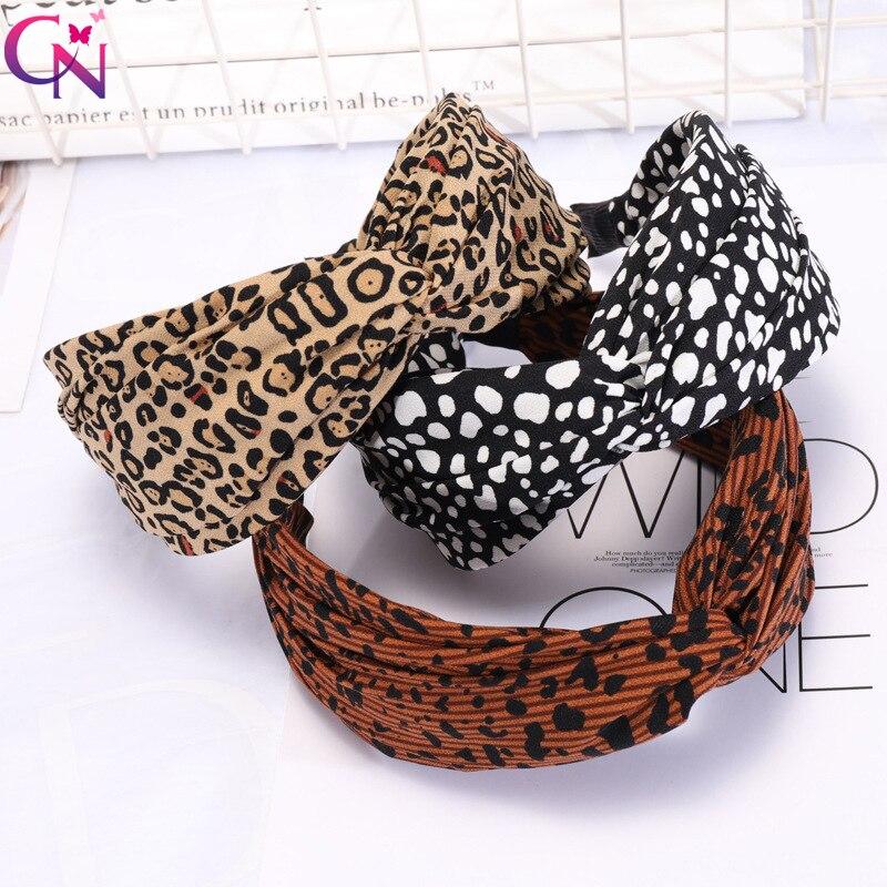CN Bohemian Leopard Cross Hairband Elastic Chiffon Hair Hoop Wide Knot Hair Band Headbands For Girls Women Hair Accessories