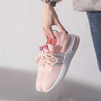 Letnie buty damskie oddychające buty na co dzień siatkowe buty sportowe latające tkane buty sportowe buty do biegania buty sportowe buty do tenisa tanie i dobre opinie SPCN PROJECTX Podstawowe Mesh (air mesh) RUBBER Lace-up Pasuje prawda na wymiar weź swój normalny rozmiar Płytkie Wiosna jesień