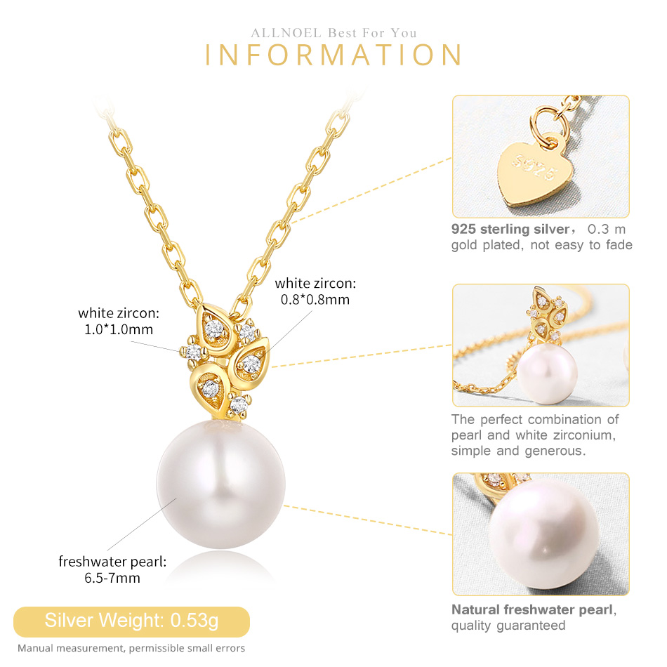 ALLNOEL Real 925 Sterling Silver 100% Real Pearl The Combination zircon Design Necklace Wedding Jewelry Gift For Women  2019 NEW (3)