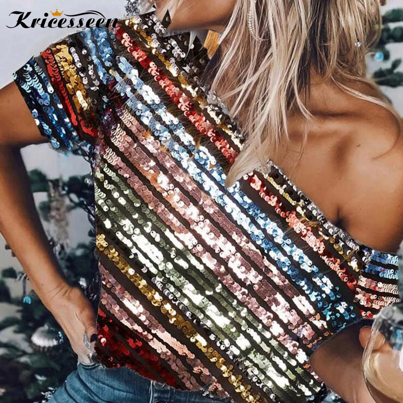 Kricesseen Casual Colorful Sequined Striped T Shirt Spring Women One Shoulder Top Streetwear Tee Shirt Femme