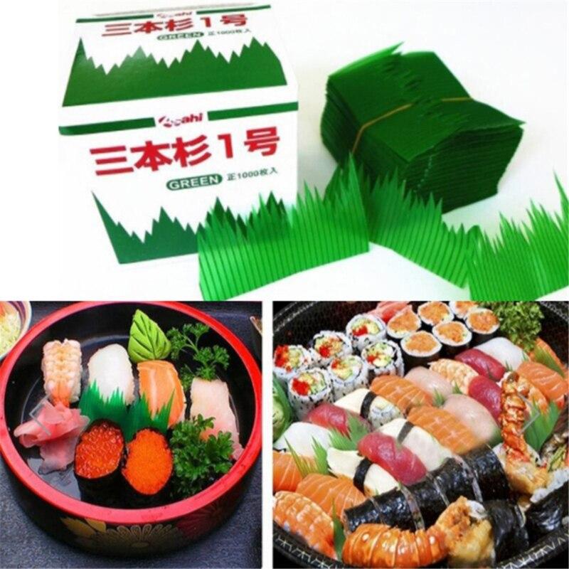 Green Leaf Japanese Food Sushi Decoration Leaves Sushi Grass Creative Plastic Leaf Sashimi Decor Tools