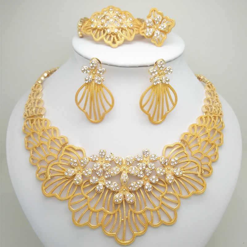 Wholesale bridal jewelry sets African Costume Zinc Alloy Jewelry Set Nigerian Wedding African big jewelry set Dubai Gold Jewelry