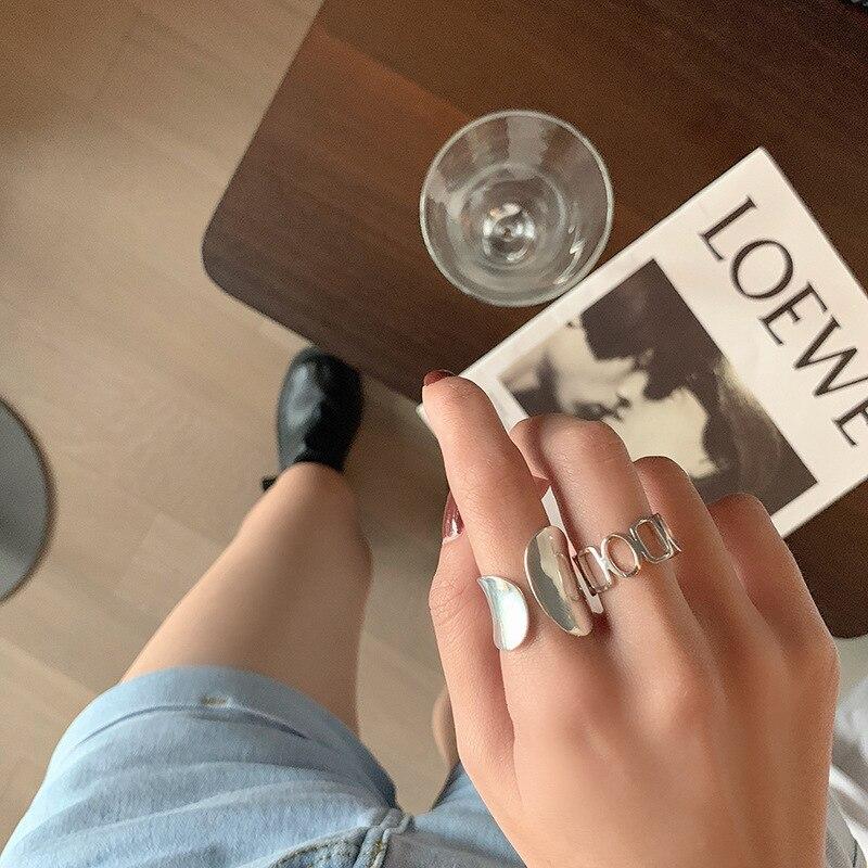 XIYANIKE 925 en argent Sterling brillant creux géométrique anneau rétro Unique conception de mode à la main bijoux Index doigt ouvert anneau 3