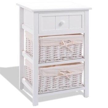 Mesita de noche blanca con 2 cestas, muebles de dormitorio, mesita de noche, mesita de noche, envío EE. UU. HW53924