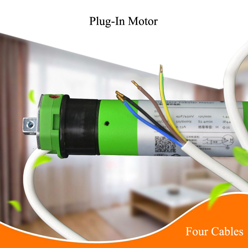 Plug In System Four Cables Tubular Motor For 50 Tube Smart Home Google Home Alexa Compatible Via Broadlink