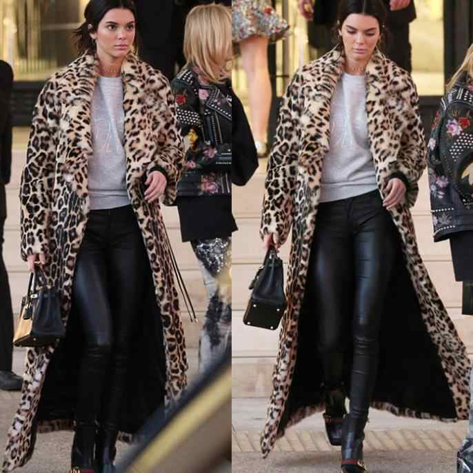 Women Long Faux Fur Coat  Celebrity Big Yards Sexy Party Winter Night Club Warm Coat Vintage Leopard Grain