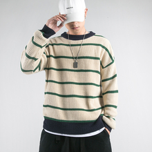 Winter New Sweater Men Warm Fashion Contrast Color Casual O-neck Sweater Pullover Man Streetwear Wild Loose Striped Sweater недорого