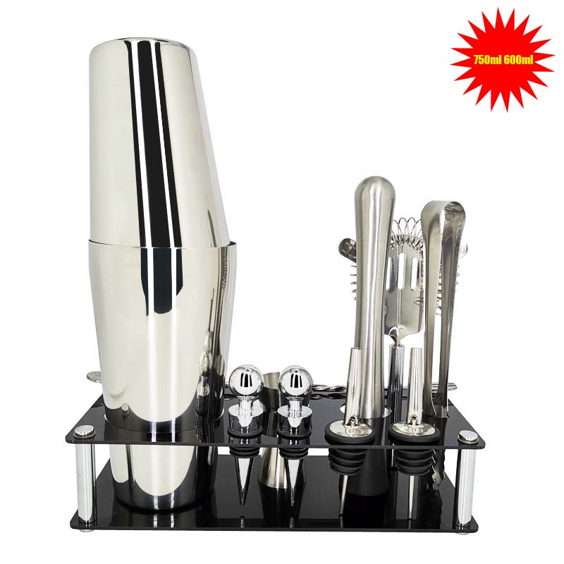 12 adet barmen seti içerir shaker raf Pourer & buz Tong kokteyl Shaker Premium Shaker Barware Set ücretsiz kargo