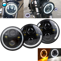 Universal Black 5.75 LED Headlight 5 3/4 Inch White Amber Halo For Sportster 883 XL1200 Iron Dyna 5 3/4