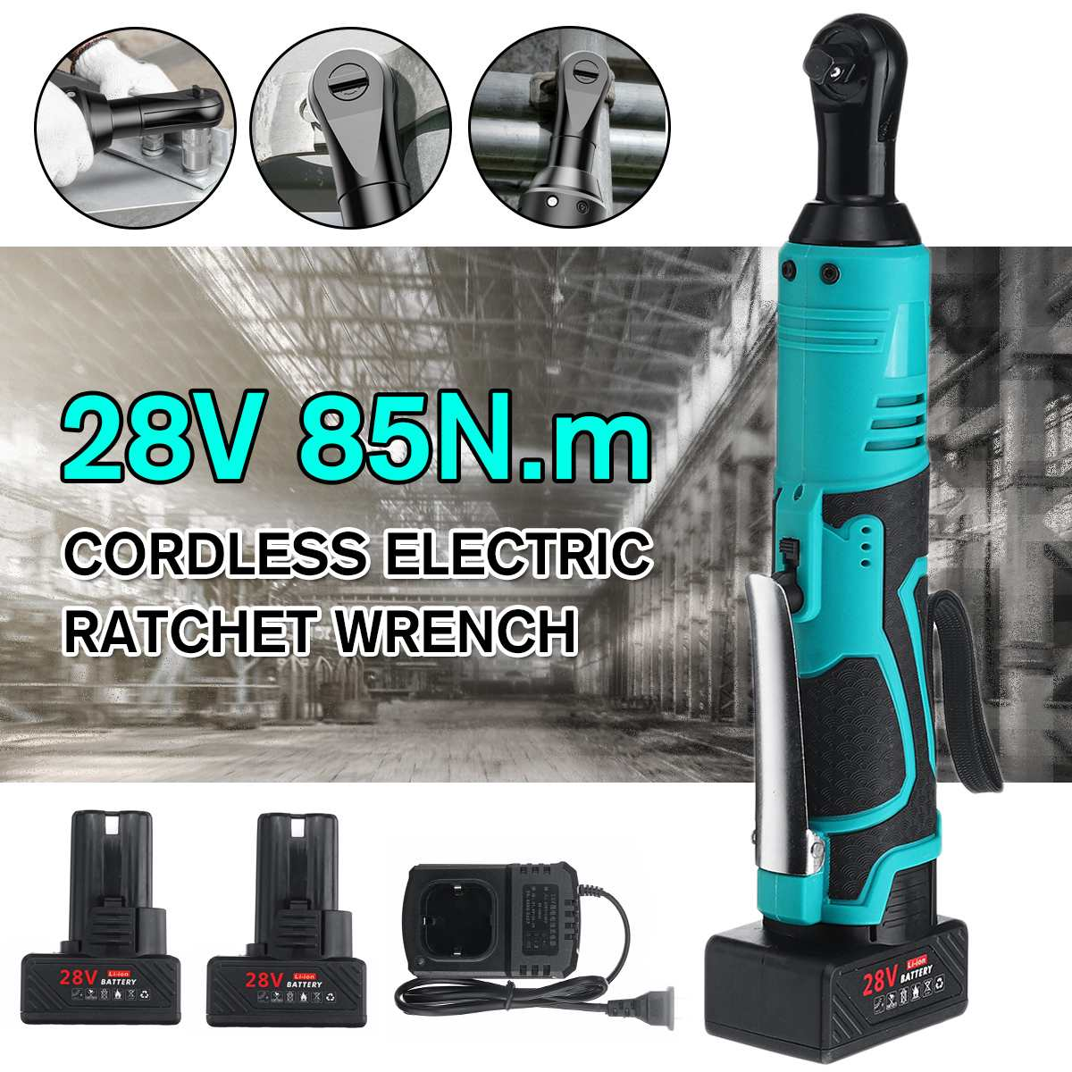 28V Electric Wrench 3/8 Inch Cordless Ratchet Right Angle Wrench With 1/2 Batteries Kit Rechargeable Scaffolding 85N.m Max