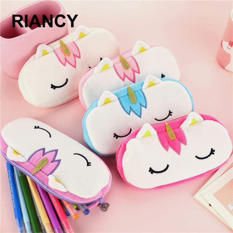 Kawaii Plush Pencil Case Girl Male Cute Plush Cartoon Pen Small Bag School Student Supplies Lapis Stationery Storage Bag 05158