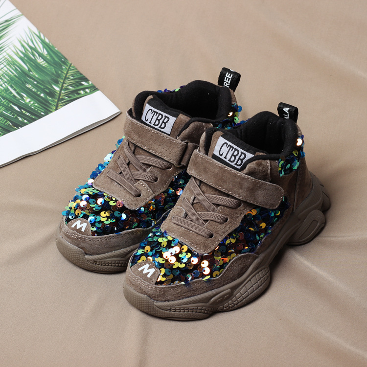 New Autumn/winter Kids Shoes Boys Sneakers Fashion Sequin Plush Children Snow Boots Girls Casual Shoes Students Running Sneakers