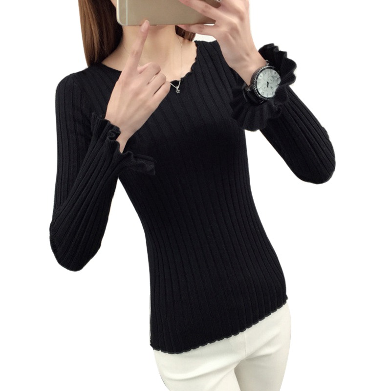 Black Sweater Slim Fit Jumper Women Solid Color Sweater Basic Top Solid Pullover Pull Fashion Autumn Cotton Knitted Sweater