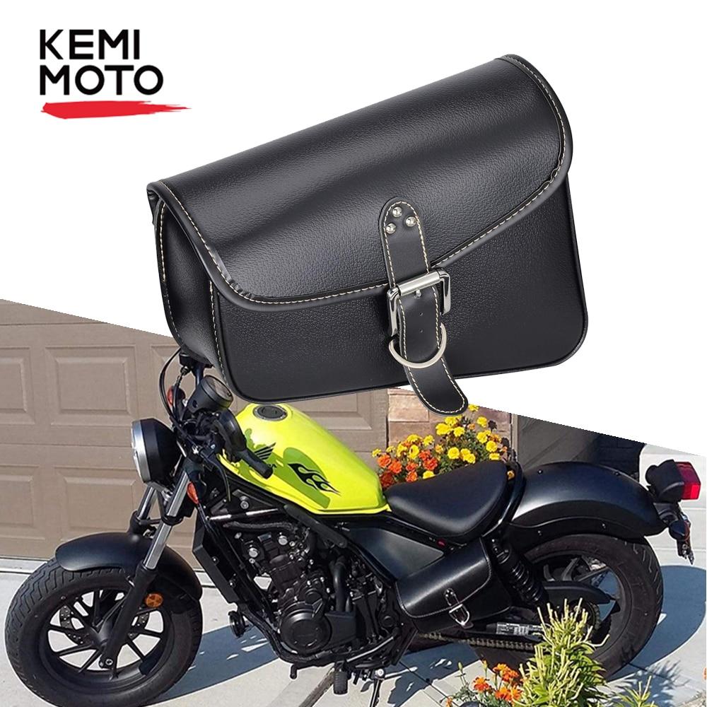Alforja de cuero PU para motocicleta, bolsa basculante para herramientas de lado izquierdo y derecho, para Sportster 1200, Honda CMX500, impermeable