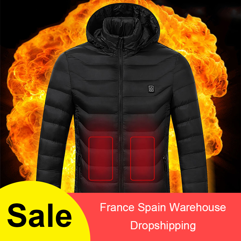 Men Winter Thick USB Heating Cotton  Waterproof Windbreaker Hooded Winter Coat Men Thick Warm Mens Winter  Parka