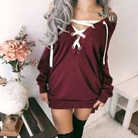 new hot American style mama spring sexy lacing v-neck woman sweatshirt fashion long sleeve solid female sweatshirt
