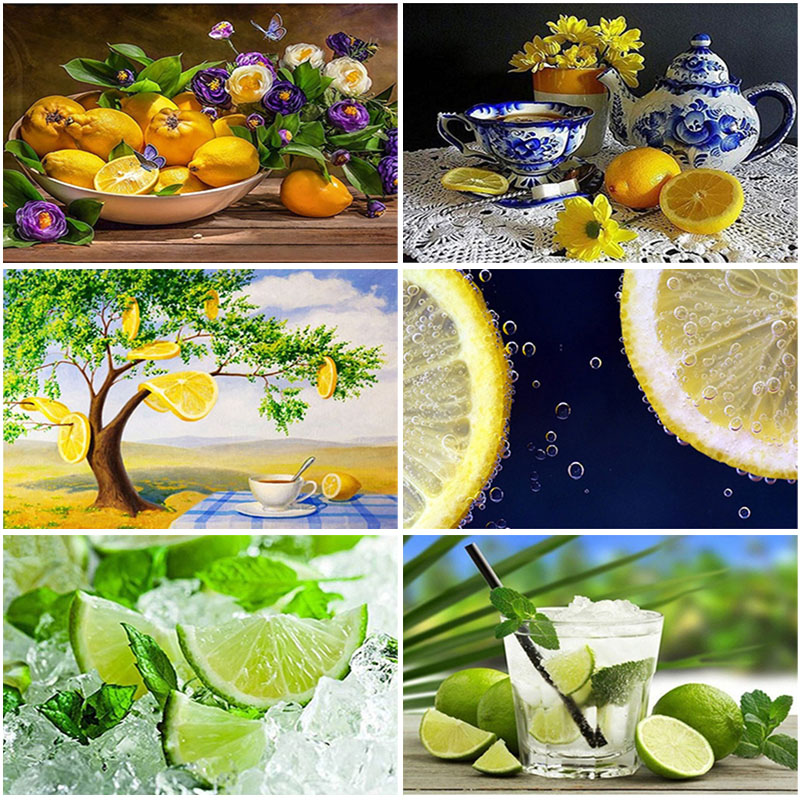 Diy 5d diamond painting full round drill resin fruit embroidery