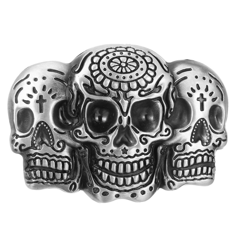Classic Silver Skull Belt Buckle Western Jeans Accessories Suitable For 4CM Belt