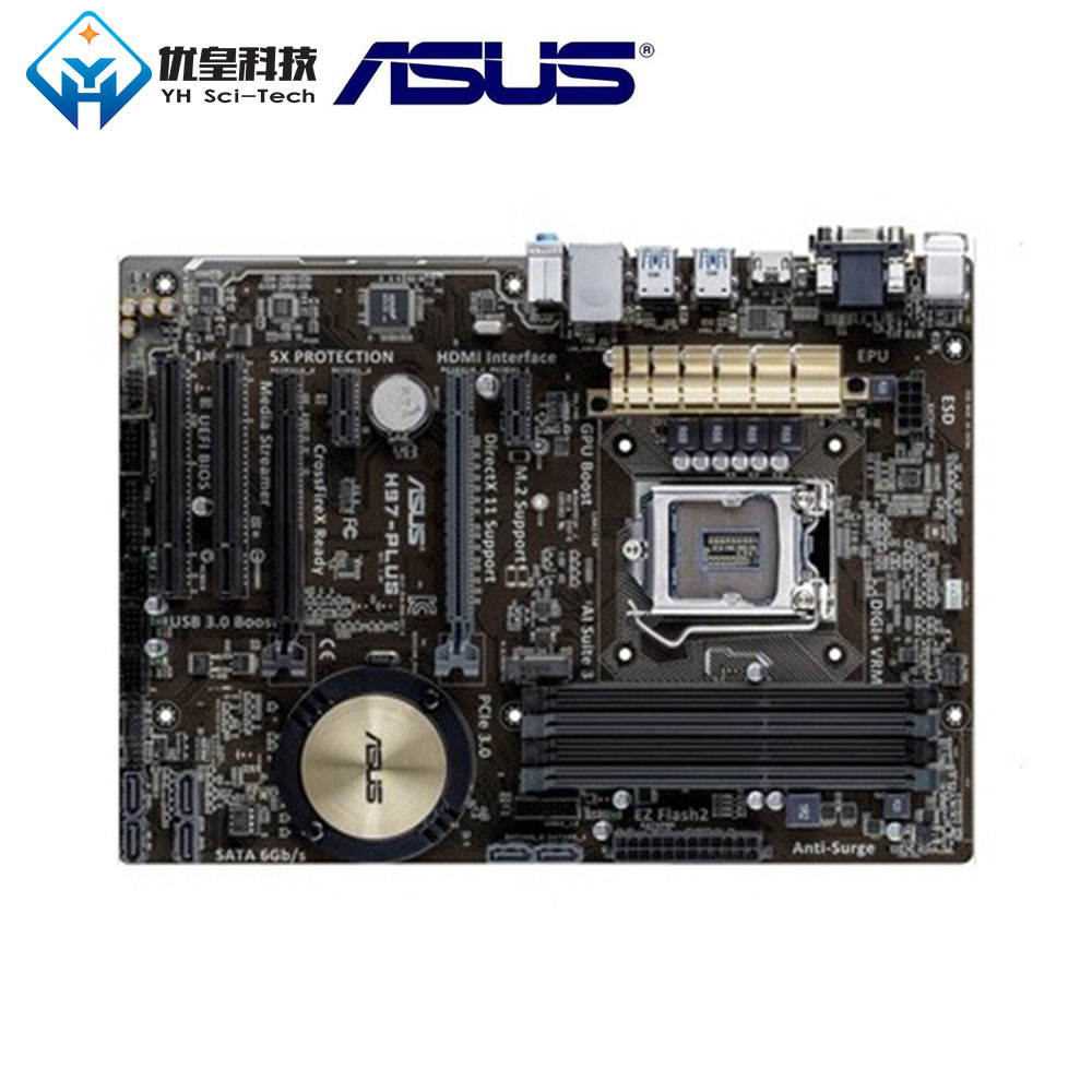 Asus H97-PLUS Intel H97 Original Used Desktop Motherboard LGA 1150 Core i7/i5/i3/Pentium/Celeron DDR3 32G ATX