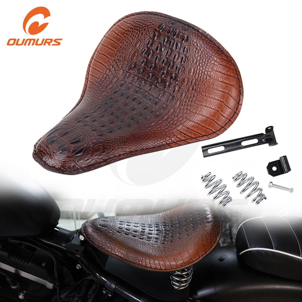 OUMURS Motorcycle Slim Solo 3″ Spring Bracket Seat Leather Alligato Seats For Harley Sportster Chopper Bobber Custom Scooter