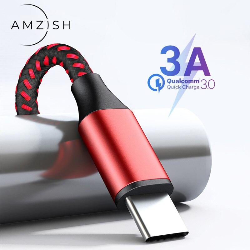 Amzish 2m 3A USB Type C кабель для Samsung S7 Xiaomi Huawei P30 Быстрая зарядка кабель для передачи данных мобильный телефон USB C кабель для зарядного устройства