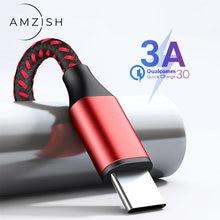 Amzish 2m 3a usb tipo c cabo para samsung s7 xiaomi huawei p30 carregamento rápido cabo de dados fio do telefone móvel usb c carregador cabo