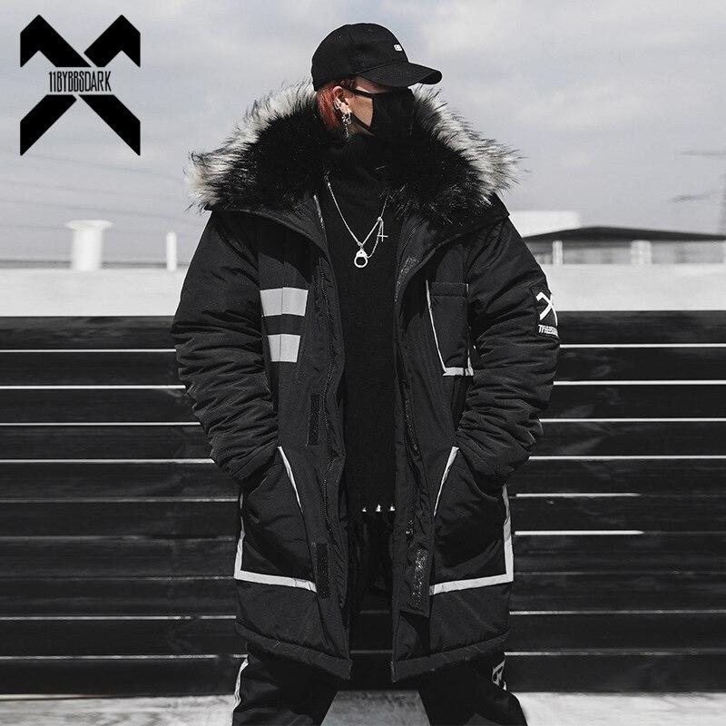 Мужская теплая куртка с меховым воротником 11 byb's, темно черная длинная уличная куртка в стиле хип хоп, DG175, зима 2019
