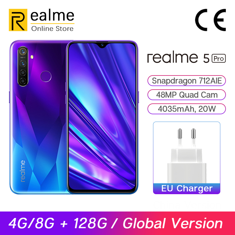 Global Version Realme 5 Pro R5 Pro 4G / 8G 128G Smartphone Snapdragon 712AIE 48MP Quad Cameras 6.3'' Cellphone VOOC 20W 4035mAh