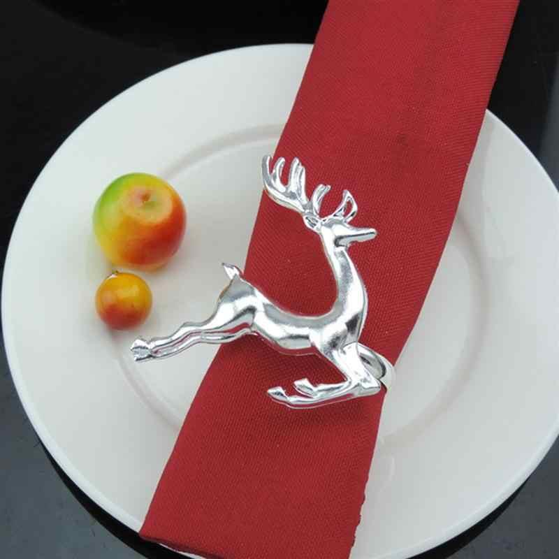 8 PCS 냅킨 링 엘크 사슴 냅킨 링 크리스마스 장식 파티를위한 테이블 장식 장식 매일 액세서리 (실버)
