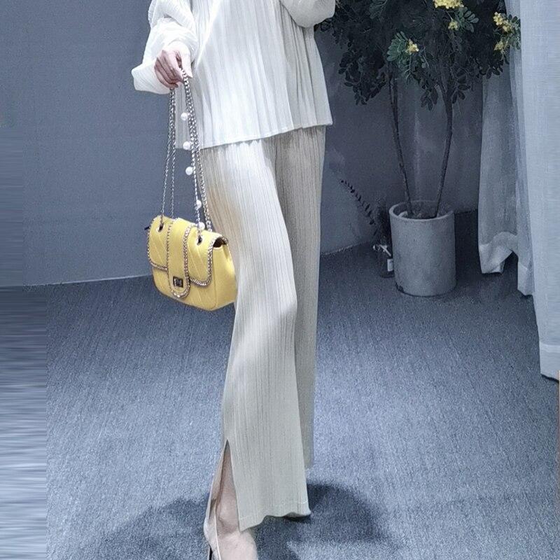 MIYAKE dobrar PP série de tamanho grande das mulheres desgaste fino reta calças dividir cores nove cor calças calça casual livre grátis