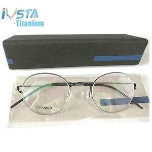 Image 5 - Ivsta眼鏡チタンメガネ男性 98607 とロゴボックス処方女性ラウンド近視光学フレームデンマーク韓国