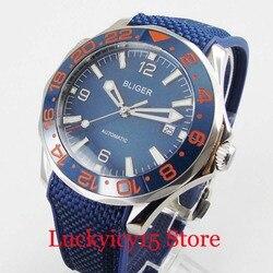 BLIGER marka szafirowe szkło 41mm okno daty obrotowa ramka niebieska tarcza automatyczny zegarek męski