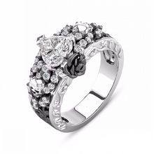 New Design 925 Silver Skull Rings for Women Men Gothic Punk Jewelry Flower Heart CZ Crystal Finger Skeleton Vintage Ring(China)