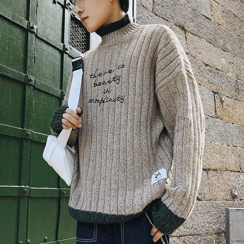 2019 UYUK Autumn Winter New Line Of Clash Color Loose-letter Embroidered Long-sleeved Men's Casual Round Neck Sweater Hombre