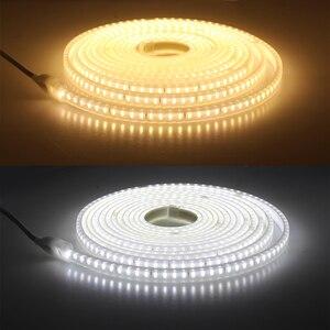 Image 5 - Taśma LED 220V 2835 wysoka jasność IP65 wodoodporna elastyczna lampa LED wysokie bezpieczeństwo zewnętrzna taśma oświetlająca LED z 1 metrowym przewodem + wtyczka