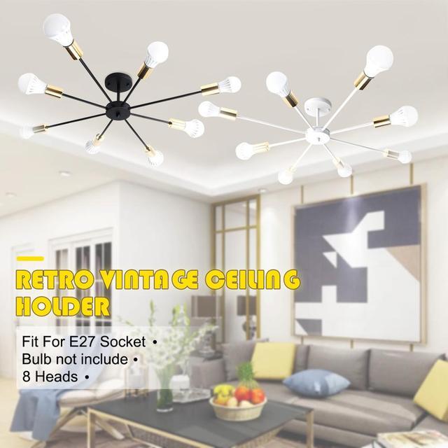 רטרו E27 Chander אורות בציר LED נברשות תעשייתי אדיסון 8 אורות נברשת מתקן לבן לא כלול הנורה 85 265V