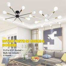 Rétro E27 Chander lumières Vintage LED lustres industriel Edison 8 lumières lustre luminaire blanc non inclus ampoule 85 265V