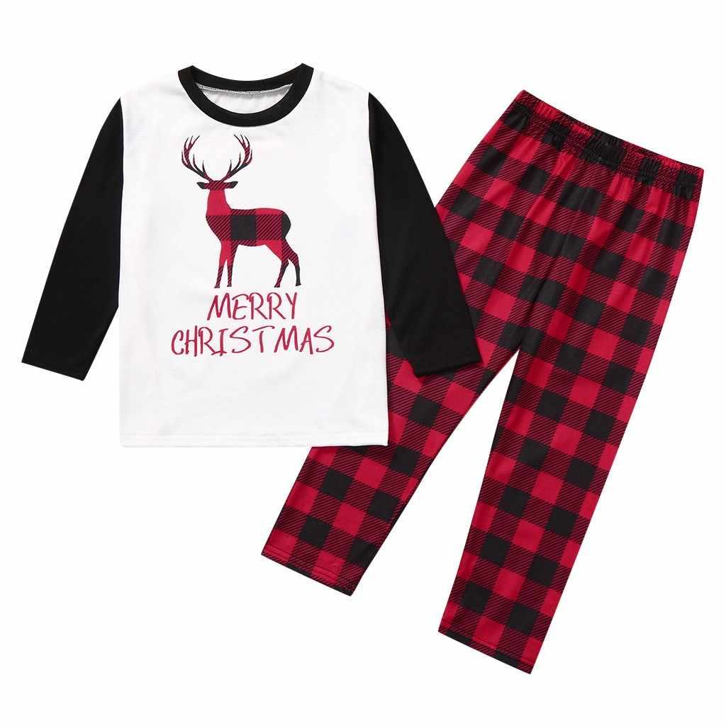 Natal família pijamas conjunto casa pijamas da criança do bebê xadrez veados impresso macacão de natal conjunto família roupas combinando