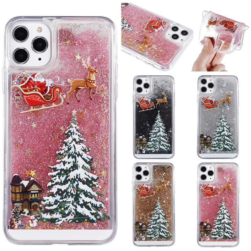 Flash Powder Mobile Phone Case Cover for iPhone 6 6s 7 8 Plus X XS Max XR 11 Pro Christmas gift