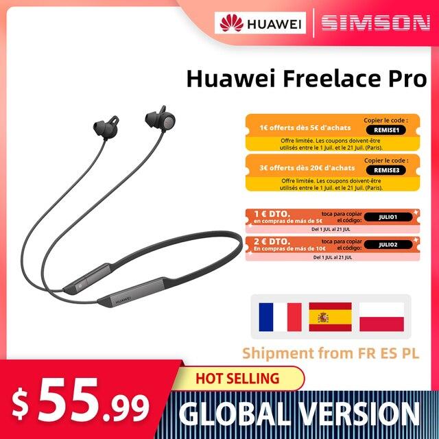 Huawei سماعة رأس لاسلكية Freelace Pro ، بلوتوث ، سماعات رياضية ، مقاومة للماء ، إلغاء نشط للضوضاء ، شحن سريع