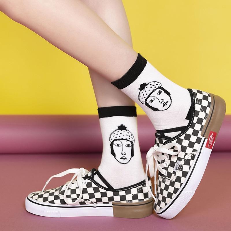 Autumn and winter Hip hop cartoon illustration of figure socks womens socks women in tube fashion socks