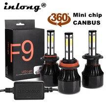 Feux automobiles à faisceau élevé et bas, lampes H4 ampoule LED H7 H11 H8 9006 HB4 9005 HB3, 6000K 12V, 2 pièces