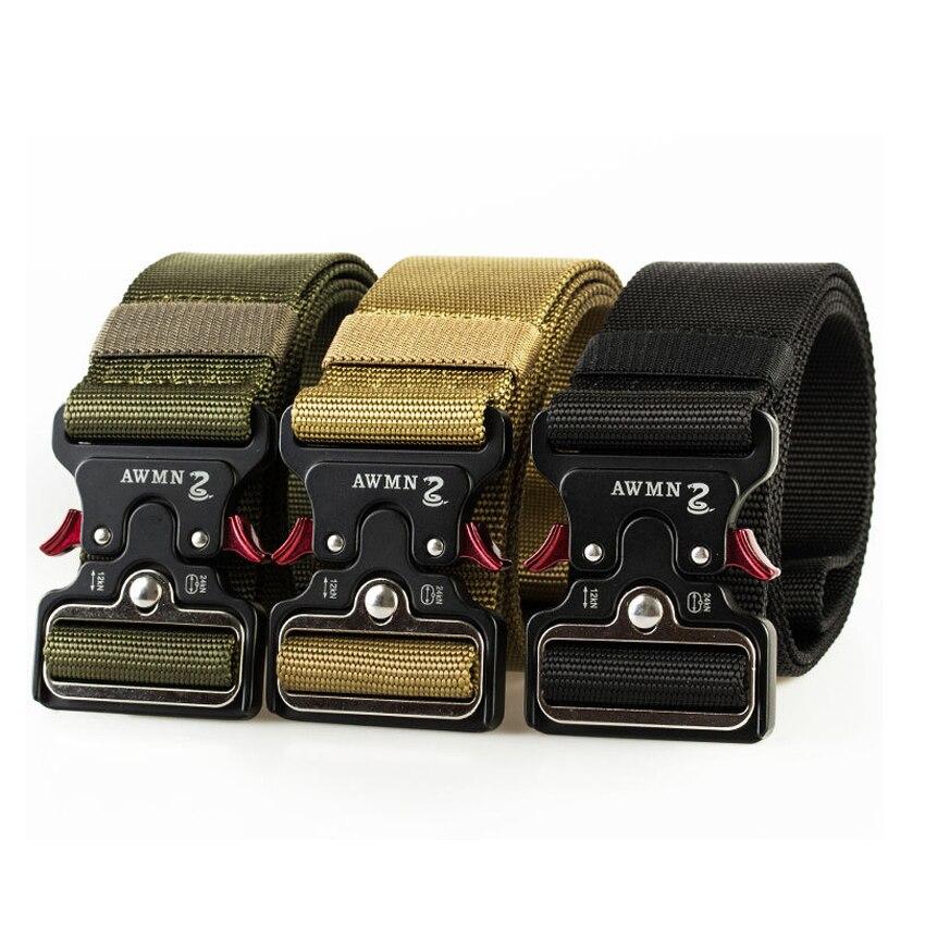 4.8CM Width Men Belt Nylon Tactical Army Belt For Trousers Metal Buckle Canvas Belts Outdoor Training Black Military Waist Belt